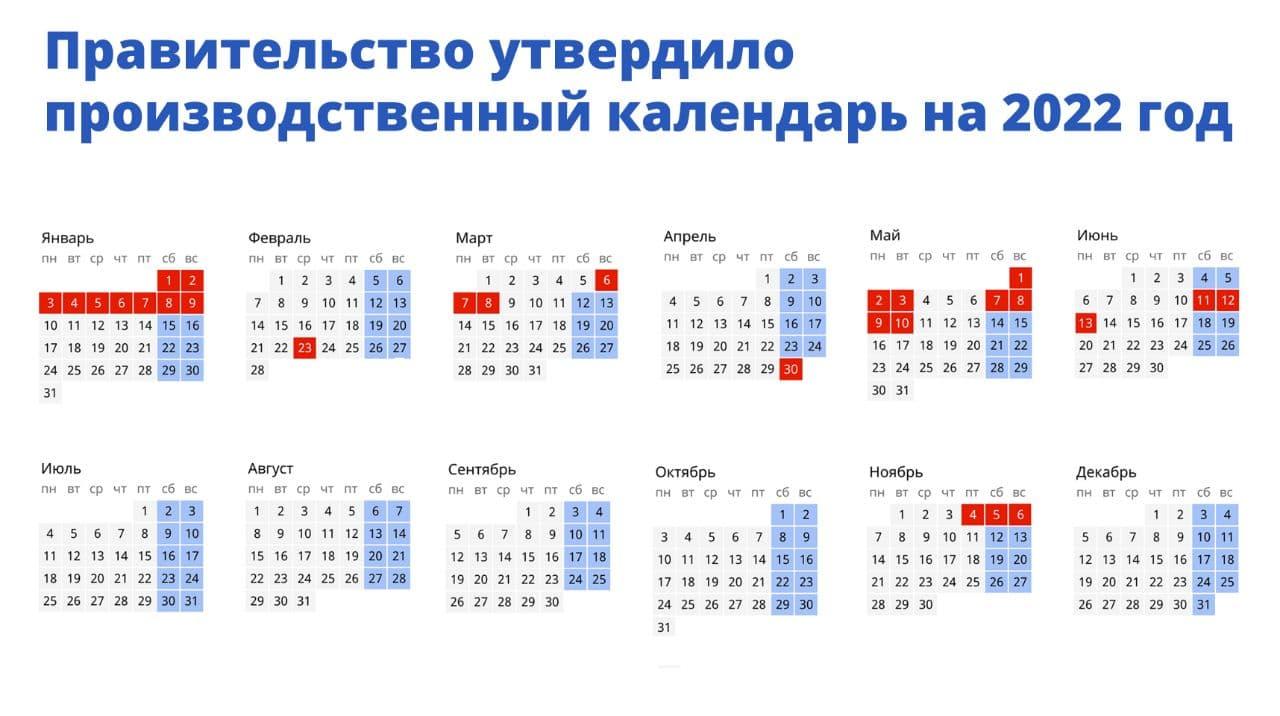 Даты выходных дней в 2022 году определили в России